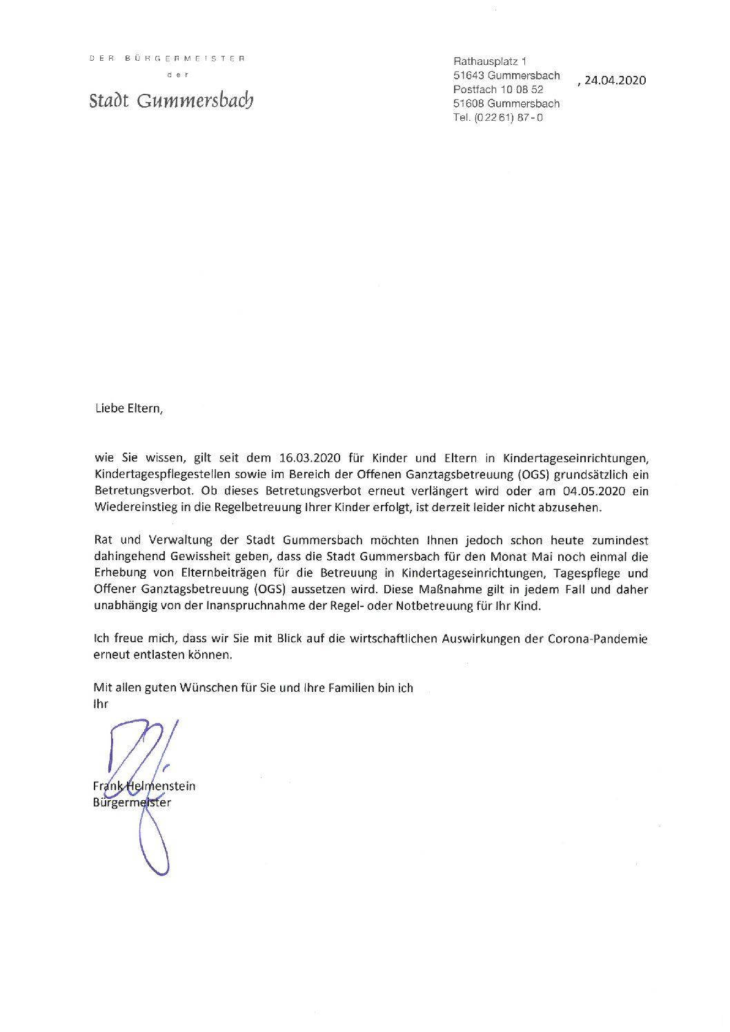 Schreiben des Bürgermeisters: Betretungsverbot/ beitragsfreier Mai